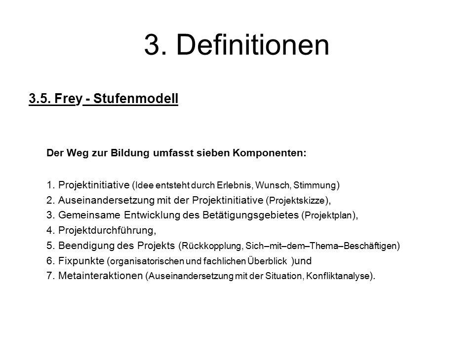 3. Definitionen 3.5. Frey - Stufenmodell Der Weg zur Bildung umfasst sieben Komponenten: 1.