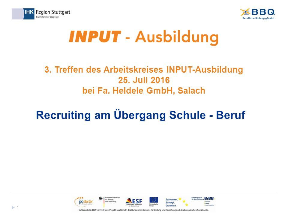  1 1 3. Treffen des Arbeitskreises INPUT-Ausbildung 25.
