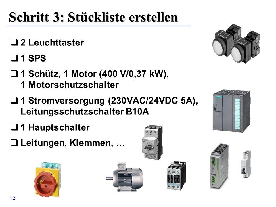 12 Schritt 3: Stückliste erstellen  2 Leuchttaster  1 SPS  1 Schütz, 1 Motor (400 V/0,37 kW), 1 Motorschutzschalter  1 Stromversorgung (230VAC/24V