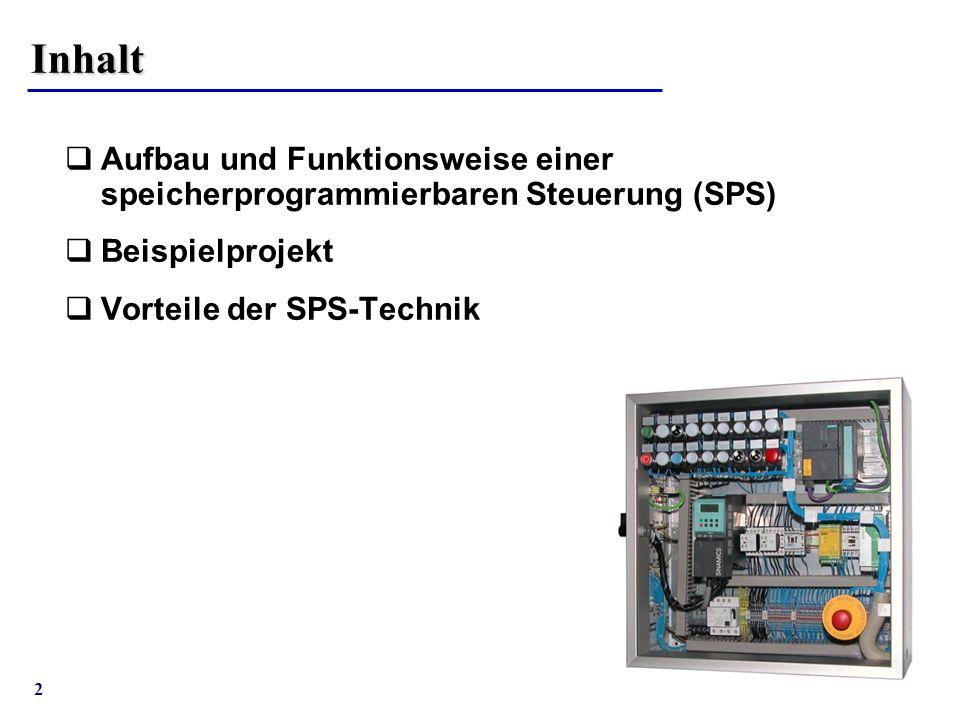 2 Inhalt  Aufbau und Funktionsweise einer speicherprogrammierbaren Steuerung (SPS)  Beispielprojekt  Vorteile der SPS-Technik