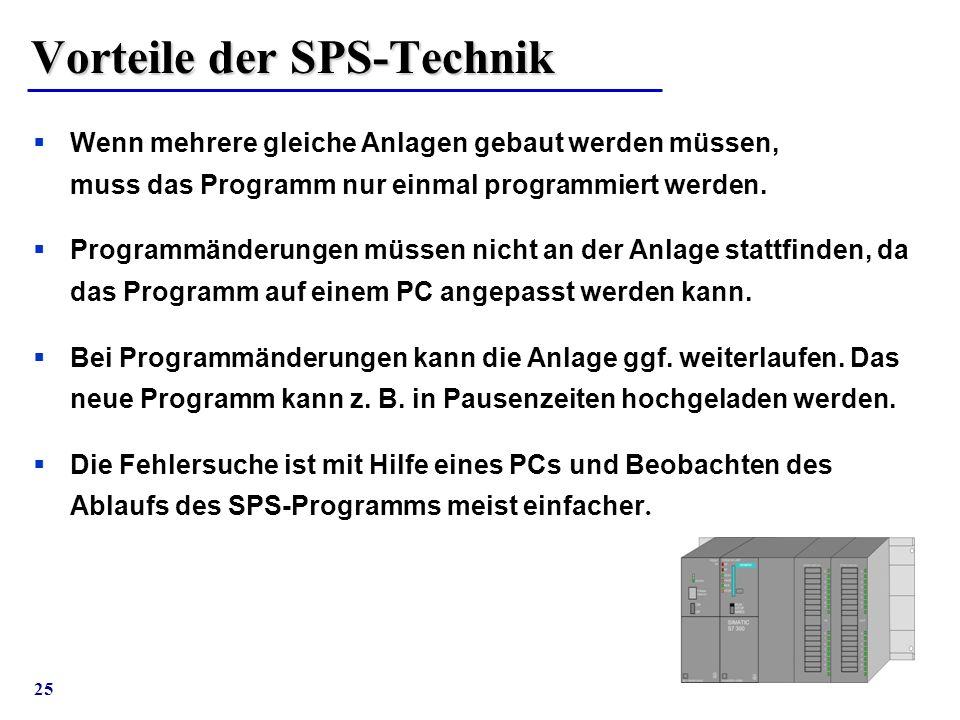 25 Vorteile der SPS-Technik  Wenn mehrere gleiche Anlagen gebaut werden müssen, muss das Programm nur einmal programmiert werden.  Programmänderunge