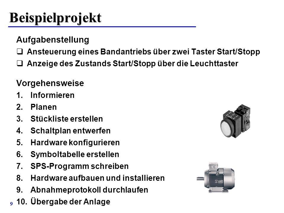 9 Beispielprojekt Aufgabenstellung  Ansteuerung eines Bandantriebs über zwei Taster Start/Stopp  Anzeige des Zustands Start/Stopp über die Leuchttas