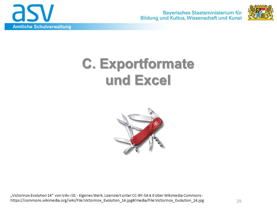 """C. Exportformate und Excel 29 """"Victorinox Evolution 14 von Vdv-r31 - Eigenes Werk."""