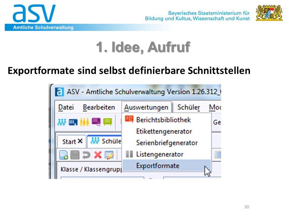 30 1. Idee, Aufruf Exportformate sind selbst definierbare Schnittstellen