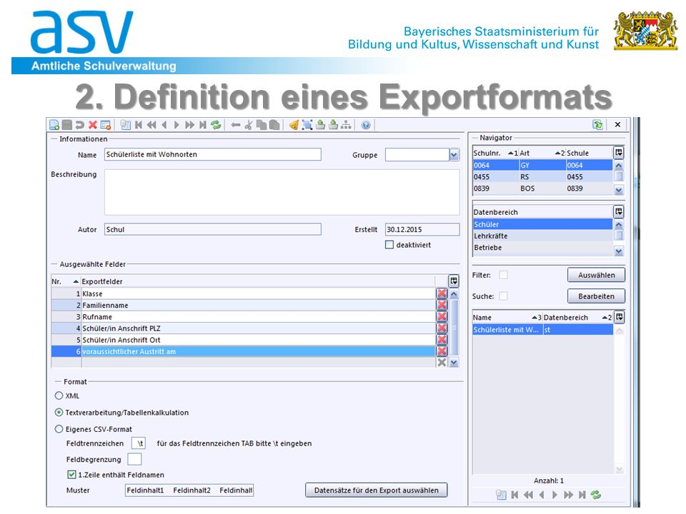 31 2. Definition eines Exportformats
