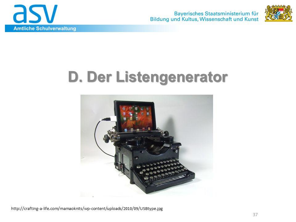 D. Der Listengenerator 37 http://crafting-a-life.com/mamaoknits/wp-content/uploads/2010/09/USBtype.jpg