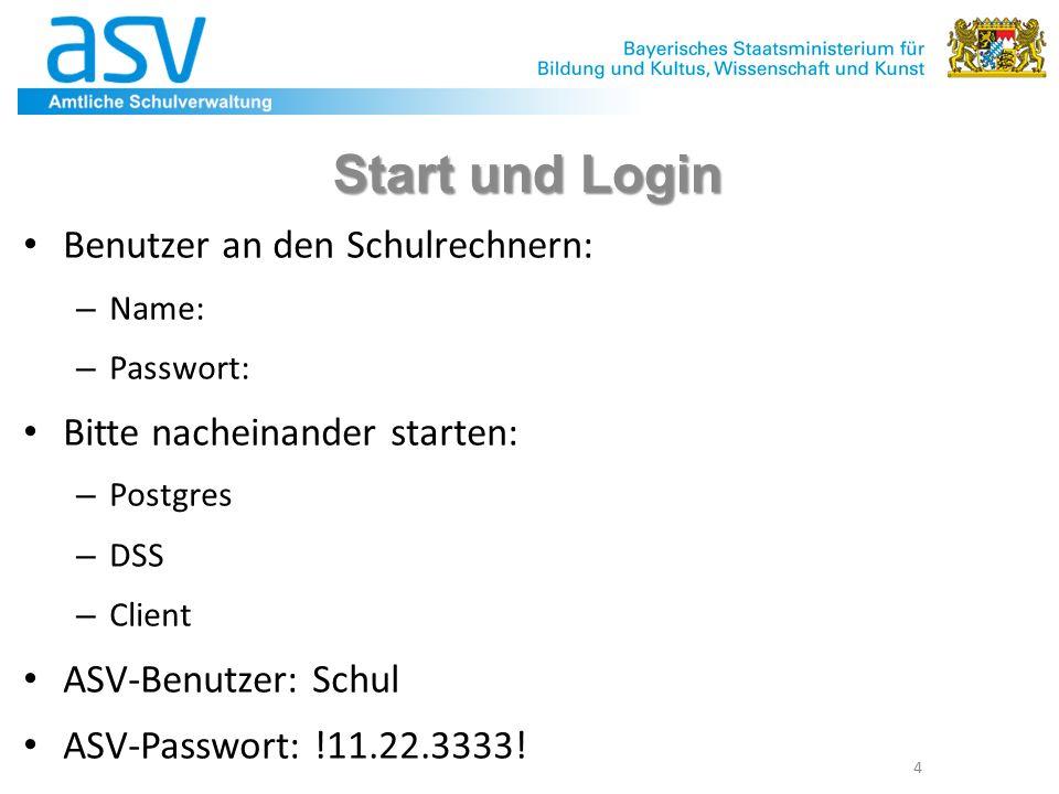 4 Start und Login Benutzer an den Schulrechnern: – Name: – Passwort: Bitte nacheinander starten: – Postgres – DSS – Client ASV-Benutzer: Schul ASV-Passwort: !11.22.3333!