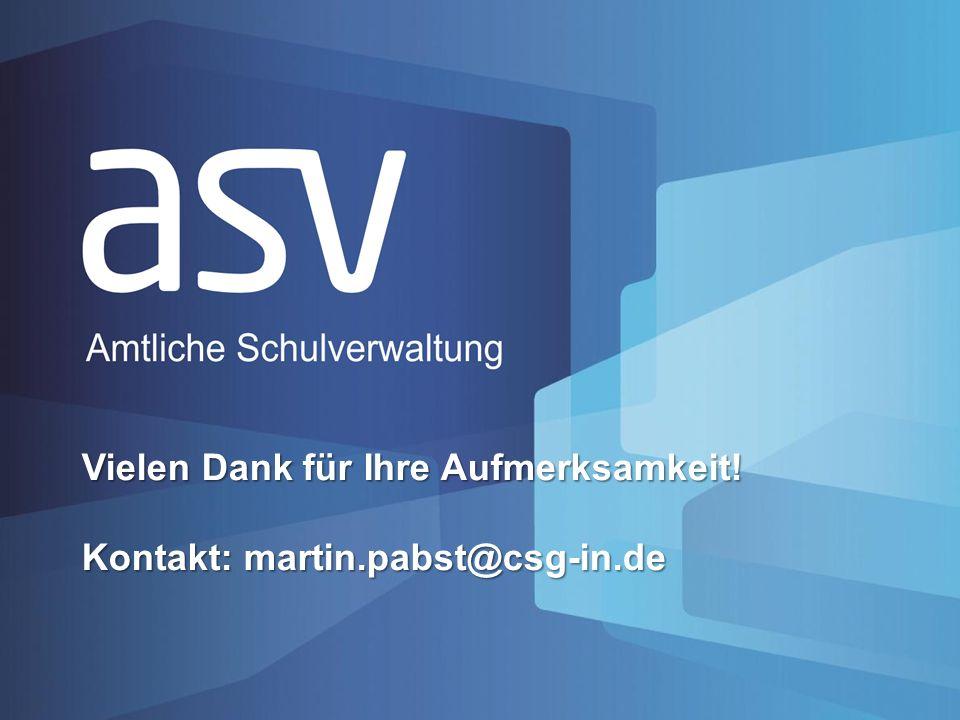 Vielen Dank für Ihre Aufmerksamkeit! Kontakt: martin.pabst@csg-in.de