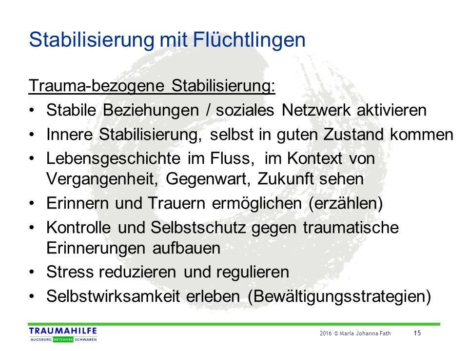 2016 © Maria Johanna Fath 15 Stabilisierung mit Flüchtlingen Trauma-bezogene Stabilisierung: Stabile Beziehungen / soziales Netzwerk aktivieren Innere