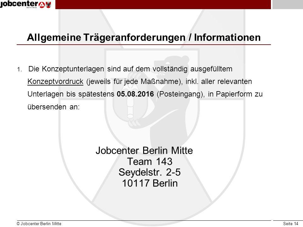 Seite 14 Allgemeine Trägeranforderungen / Informationen 1.