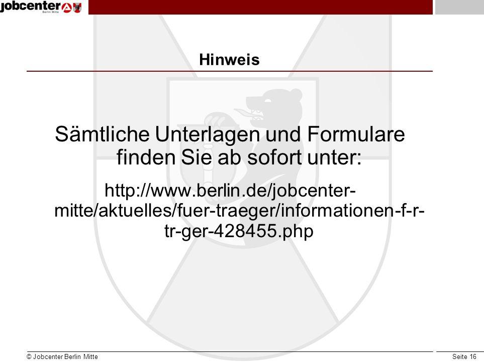 Seite 16 Hinweis Sämtliche Unterlagen und Formulare finden Sie ab sofort unter: http://www.berlin.de/jobcenter- mitte/aktuelles/fuer-traeger/informationen-f-r- tr-ger-428455.php © Jobcenter Berlin Mitte