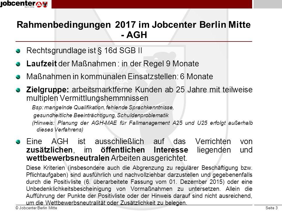 Seite 3 Rahmenbedingungen 2017 im Jobcenter Berlin Mitte - AGH Rechtsgrundlage ist § 16d SGB II Laufzeit der Maßnahmen : in der Regel 9 Monate Maßnahmen in kommunalen Einsatzstellen: 6 Monate Zielgruppe: arbeitsmarktferne Kunden ab 25 Jahre mit teilweise multiplen Vermittlungshemmnissen Bsp: mangelnde Qualifikation, fehlende Sprachkenntnisse, gesundheitliche Beeinträchtigung, Schuldenproblematik (Hinweis: Planung der AGH-MAE für Fallmanagement A25 und U25 erfolgt außerhalb dieses Verfahrens) Eine AGH ist ausschließlich auf das Verrichten von zusätzlichen, im öffentlichen Interesse liegenden und wettbewerbsneutralen Arbeiten ausgerichtet.