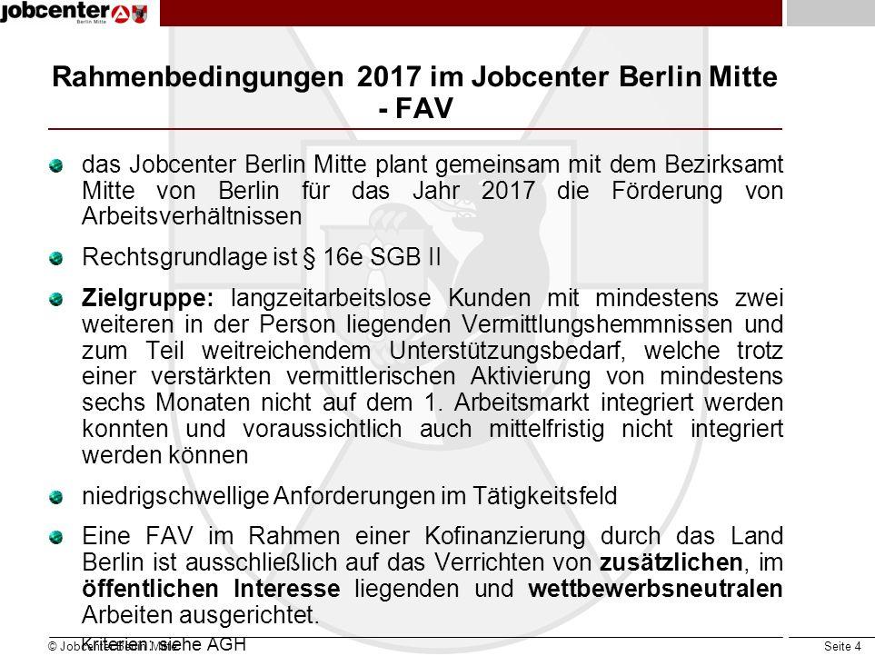 Seite 4 Rahmenbedingungen 2017 im Jobcenter Berlin Mitte - FAV das Jobcenter Berlin Mitte plant gemeinsam mit dem Bezirksamt Mitte von Berlin für das Jahr 2017 die Förderung von Arbeitsverhältnissen Rechtsgrundlage ist § 16e SGB II Zielgruppe: langzeitarbeitslose Kunden mit mindestens zwei weiteren in der Person liegenden Vermittlungshemmnissen und zum Teil weitreichendem Unterstützungsbedarf, welche trotz einer verstärkten vermittlerischen Aktivierung von mindestens sechs Monaten nicht auf dem 1.