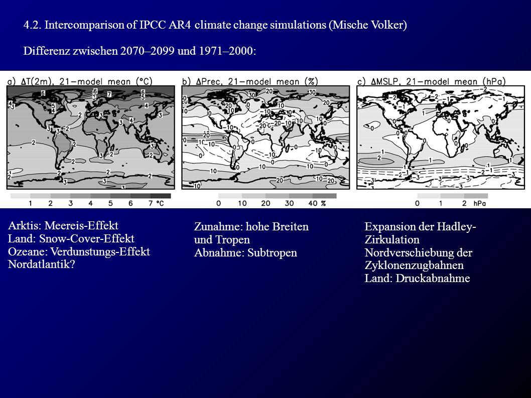 4.2. Intercomparison of IPCC AR4 climate change simulations (Mische Volker) Differenz zwischen 2070–2099 und 1971–2000: Arktis: Meereis-Effekt Land: S