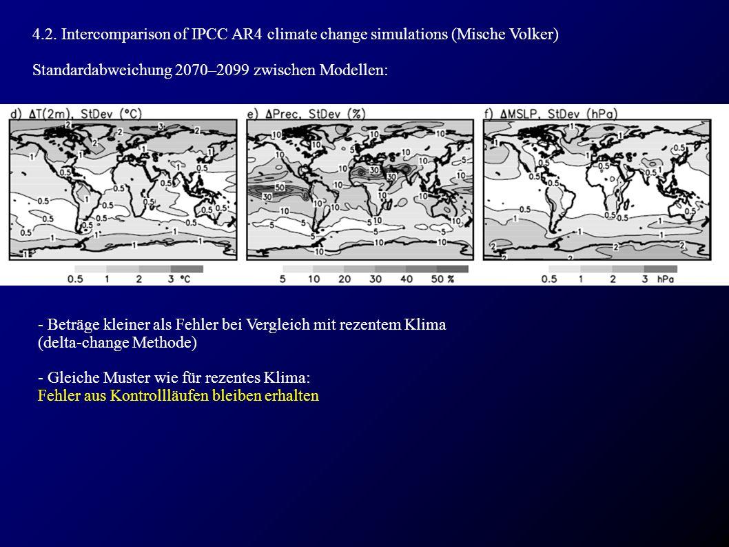 4.2. Intercomparison of IPCC AR4 climate change simulations (Mische Volker) Standardabweichung 2070–2099 zwischen Modellen: - Beträge kleiner als Fehl