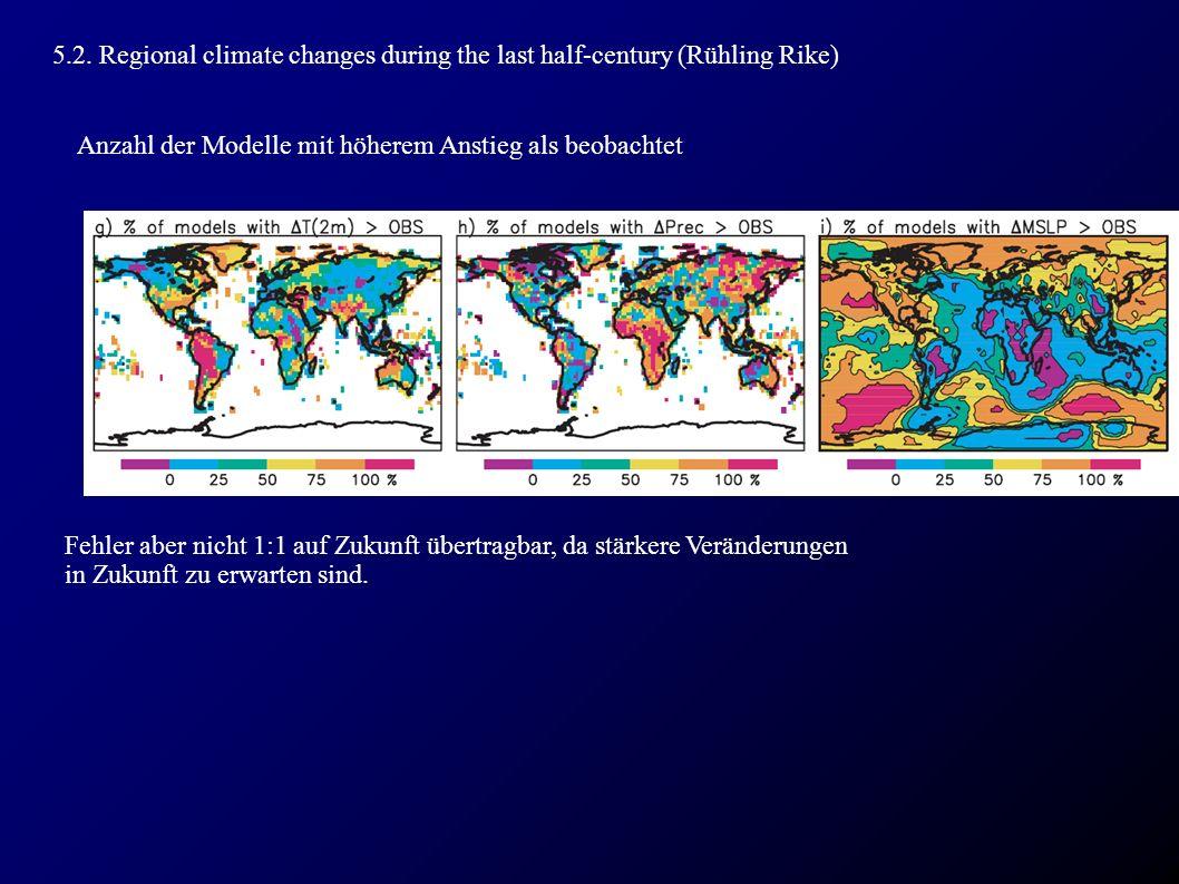 5.2. Regional climate changes during the last half-century (Rühling Rike) Anzahl der Modelle mit höherem Anstieg als beobachtet Fehler aber nicht 1:1