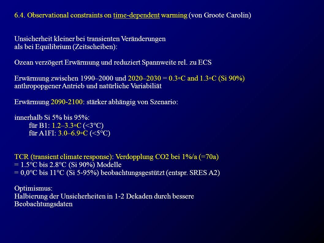 6.4. Observational constraints on time-dependent warming (von Groote Carolin) Unsicherheit kleiner bei transienten Veränderungen als bei Equilibrium (
