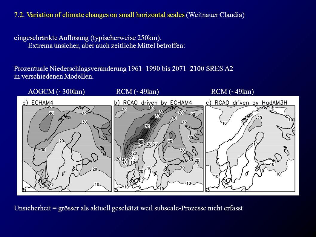 7.2. Variation of climate changes on small horizontal scales (Weitnauer Claudia) eingeschränkte Auflösung (typischerweise 250km). Extrema unsicher, ab