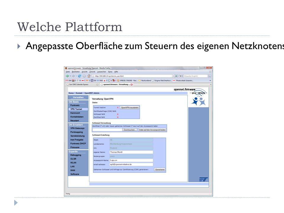 Welche Plattform  Angepasste Oberfläche zum Steuern des eigenen Netzknotens (APs)