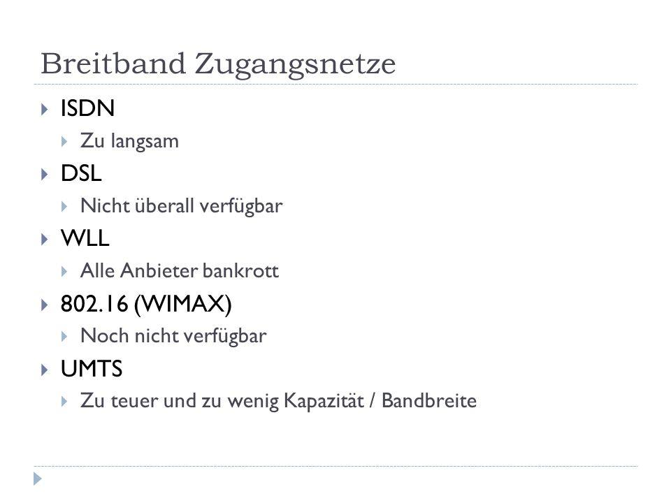 Breitband Zugangsnetze  ISDN  Zu langsam  DSL  Nicht überall verfügbar  WLL  Alle Anbieter bankrott  802.16 (WIMAX)  Noch nicht verfügbar  UMTS  Zu teuer und zu wenig Kapazität / Bandbreite