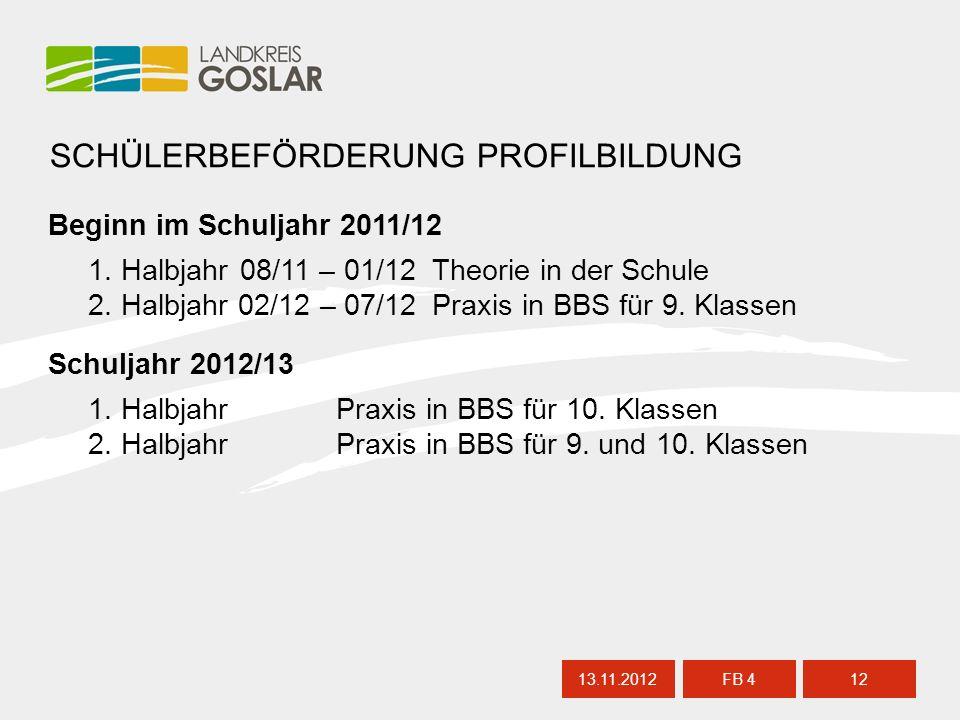 13.11.201212 FB 4 SCHÜLERBEFÖRDERUNG PROFILBILDUNG Schuljahr 2012/13 1.