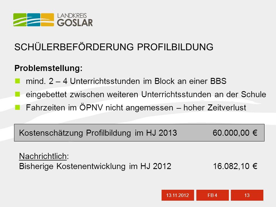 13.11.201213 FB 4 SCHÜLERBEFÖRDERUNG PROFILBILDUNG Problemstellung: mind.
