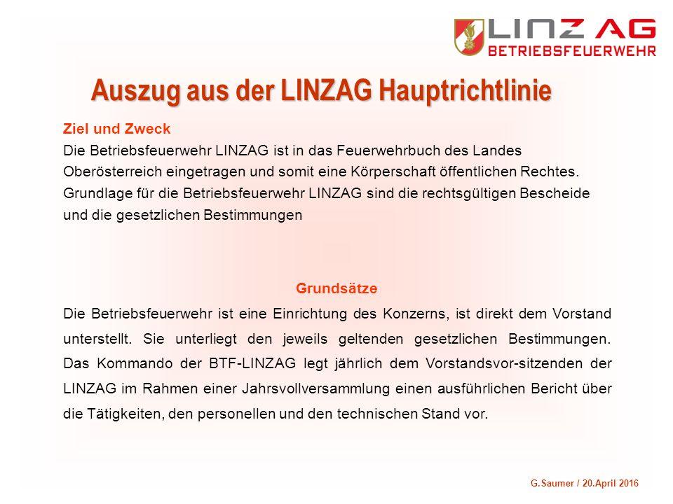 G.Saumer / 20.April 2016 Auszug aus der LINZAG Hauptrichtlinie Ziel und Zweck Die Betriebsfeuerwehr LINZAG ist in das Feuerwehrbuch des Landes Oberöst