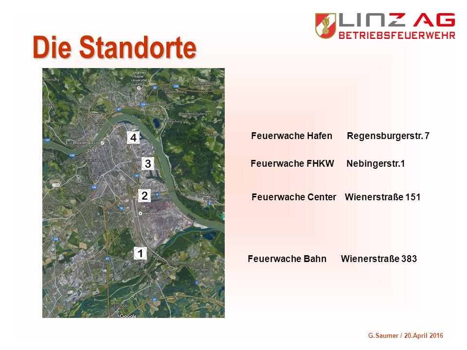 G.Saumer / 20.April 2016 Die Standorte Feuerwache BahnWienerstraße 383 Feuerwache CenterWienerstraße 151 Feuerwache FHKW Nebingerstr.1 Feuerwache Hafe