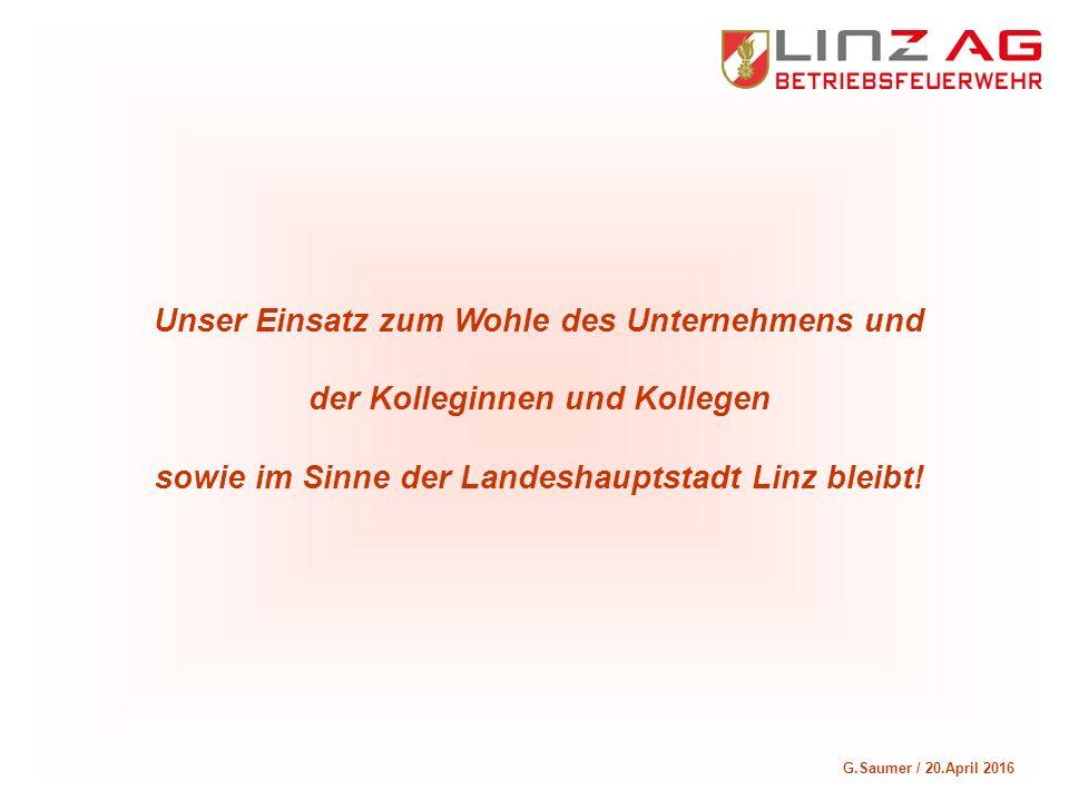G.Saumer / 20.April 2016 Unser Einsatz zum Wohle des Unternehmens und der Kolleginnen und Kollegen sowie im Sinne der Landeshauptstadt Linz bleibt!