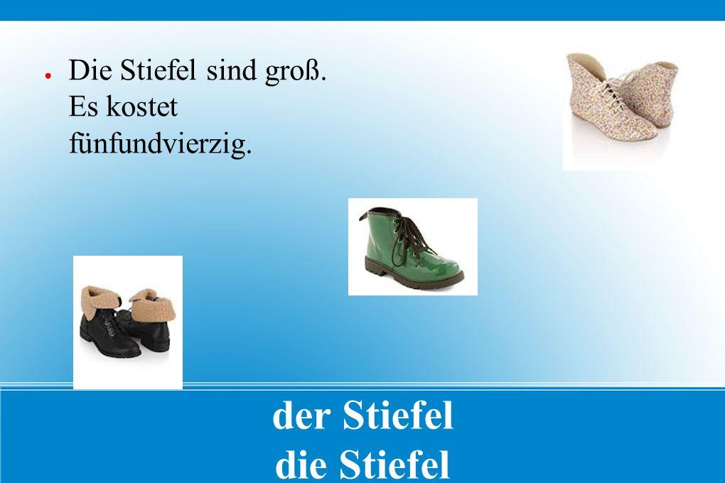 der Stiefel die Stiefel ● Die Stiefel sind groß. Es kostet fünfundvierzig.