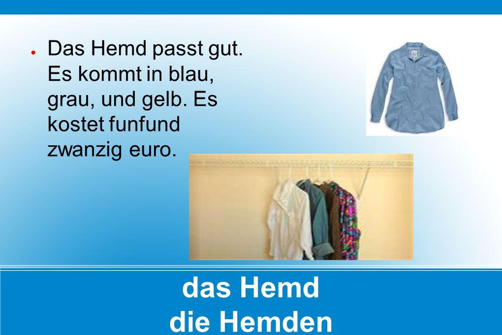 das Hemd die Hemden ● Das Hemd passt gut. Es kommt in blau, grau, und gelb. Es kostet funfund zwanzig euro.