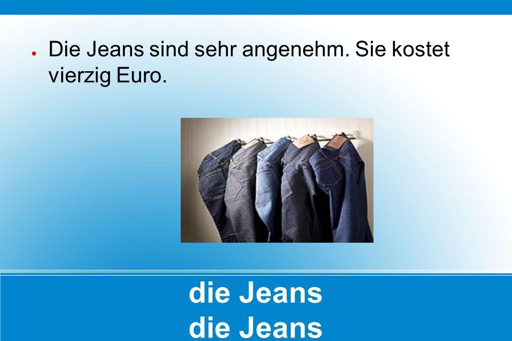 die Jeans ● Die Jeans sind sehr angenehm. Sie kostet vierzig Euro.