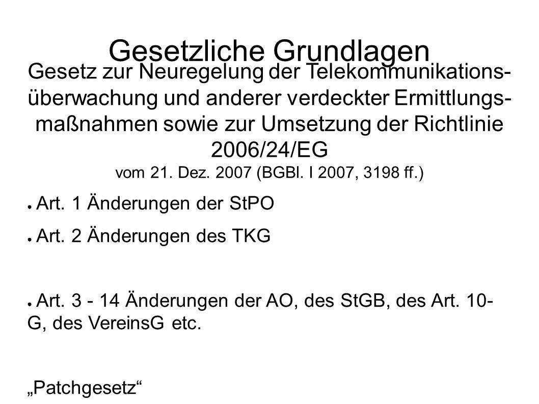 Gesetz zur Neuregelung der Telekommunikations- überwachung und anderer verdeckter Ermittlungs- maßnahmen sowie zur Umsetzung der Richtlinie 2006/24/EG vom 21.