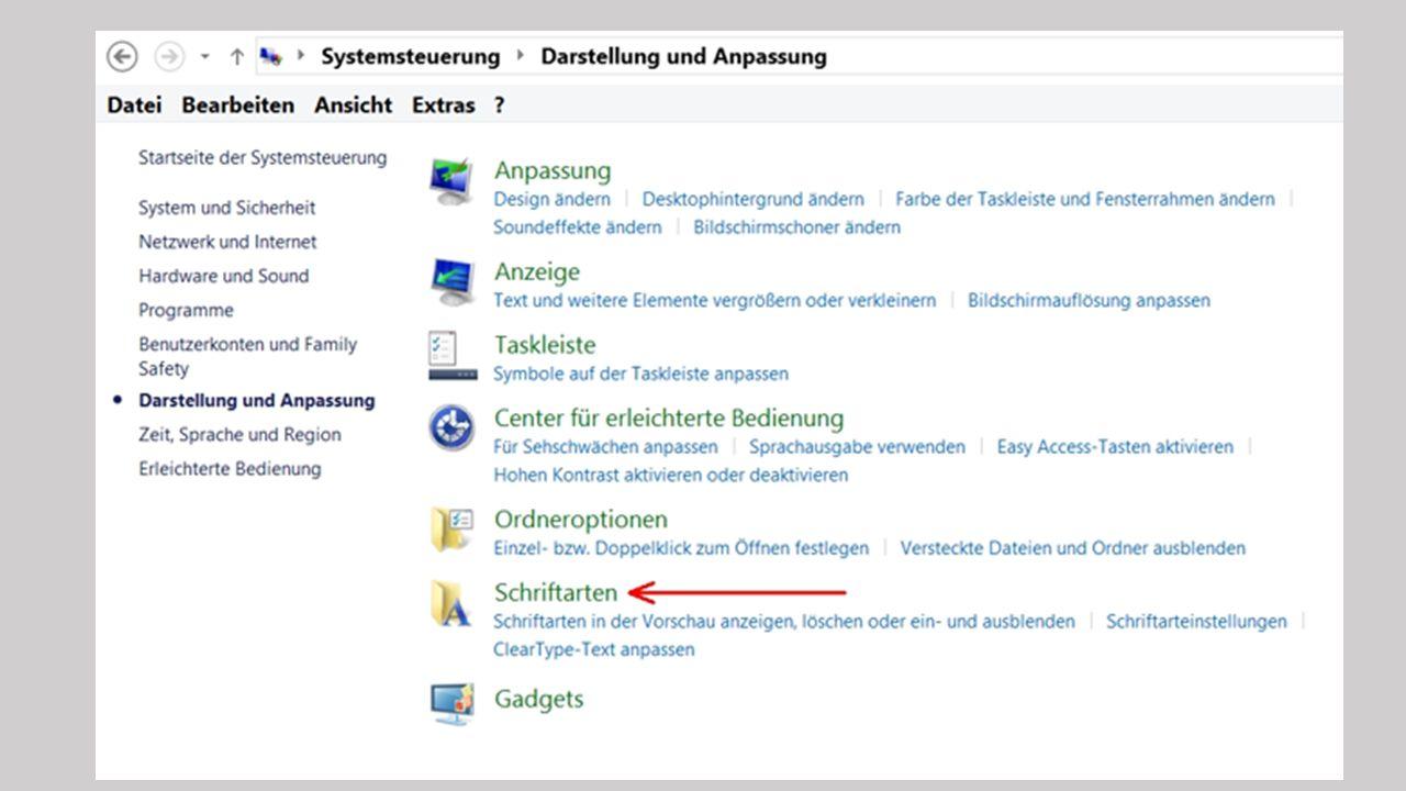 Falls es ihnen Mühe macht, die kleinen Zeichen auf dem Bildschirm zu erkennen, bietet Windows eine erleichterte Bedienung, z.