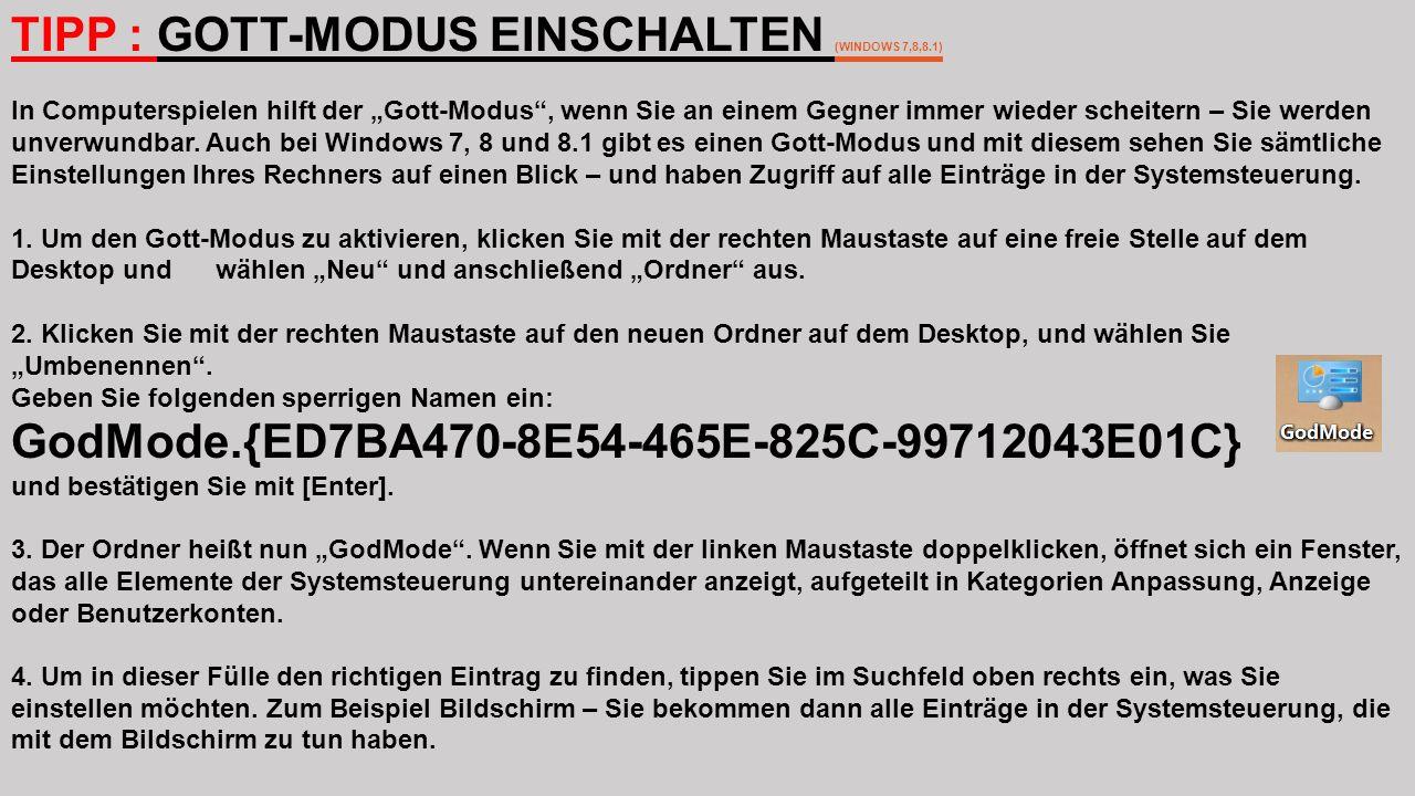 """TIPP : GOTT-MODUS EINSCHALTEN (WINDOWS 7,8,8.1) In Computerspielen hilft der """"Gott-Modus"""", wenn Sie an einem Gegner immer wieder scheitern – Sie werde"""
