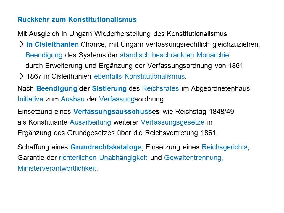 Rückkehr zum Konstitutionalismus Mit Ausgleich in Ungarn Wiederherstellung des Konstitutionalismus  in Cisleithanien Chance, mit Ungarn verfassungsrechtlich gleichzuziehen, Beendigung des Systems der ständisch beschränkten Monarchie durch Erweiterung und Ergänzung der Verfassungsordnung von 1861  1867 in Cisleithanien ebenfalls Konstitutionalismus.