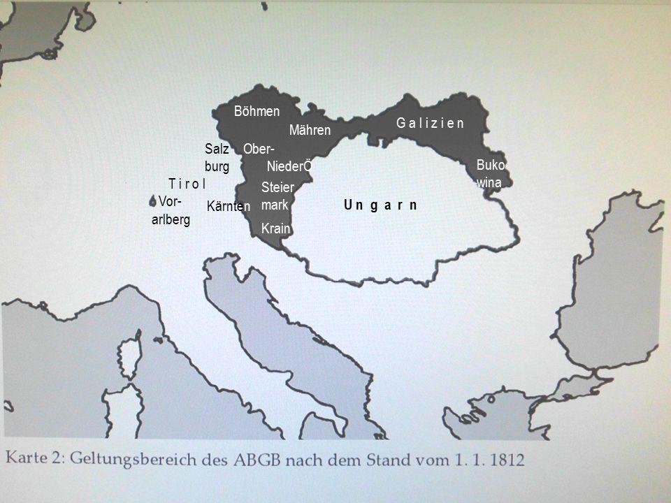 Böhmen Mähren G a l i z i e n Kärnten T i r o l Vor- arlberg Salz burg Steier mark Krain Ober- NiederÖ U n g a r n Buko wina