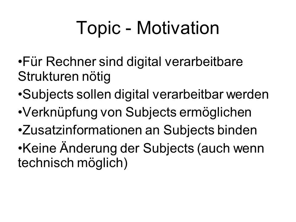Topic - Motivation Für Rechner sind digital verarbeitbare Strukturen nötig Subjects sollen digital verarbeitbar werden Verknüpfung von Subjects ermöglichen Zusatzinformationen an Subjects binden Keine Änderung der Subjects (auch wenn technisch möglich)