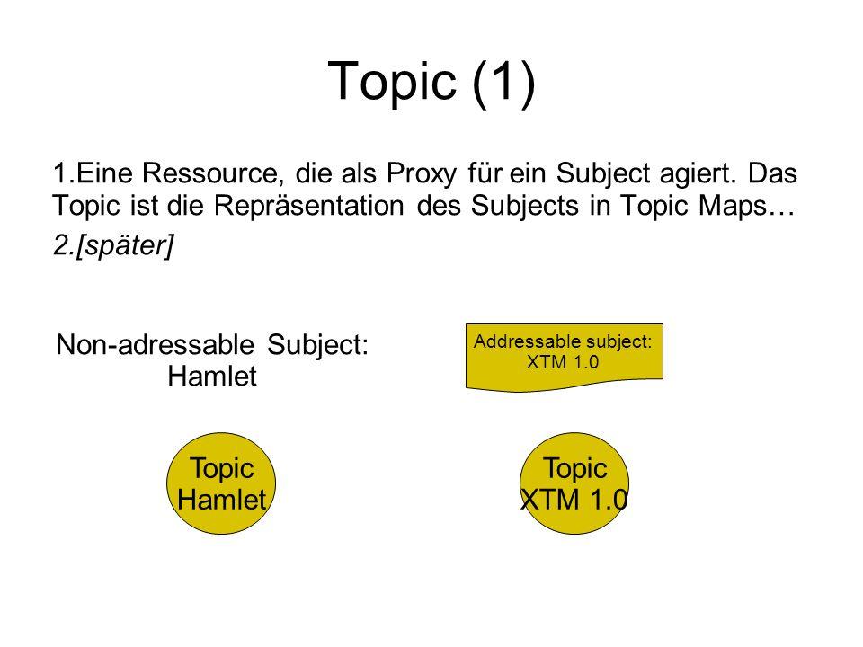 Topic (1) 1. Eine Ressource, die als Proxy für ein Subject agiert. Das Topic ist die Repräsentation des Subjects in Topic Maps… 2. [später] Non-adress