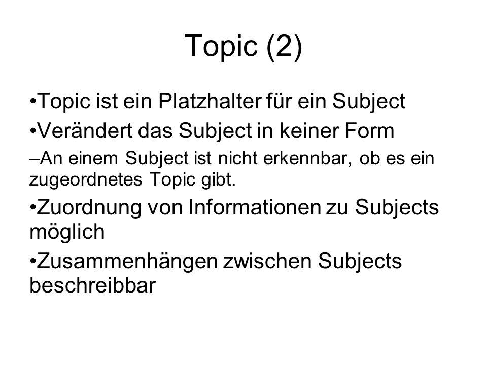 Topic (2) Topic ist ein Platzhalter für ein Subject Verändert das Subject in keiner Form – An einem Subject ist nicht erkennbar, ob es ein zugeordnetes Topic gibt.