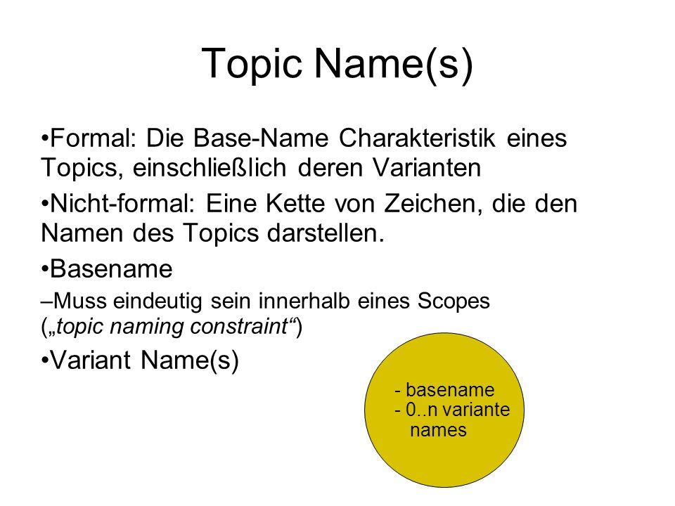 Topic Name(s) Formal: Die Base-Name Charakteristik eines Topics, einschließlich deren Varianten Nicht-formal: Eine Kette von Zeichen, die den Namen des Topics darstellen.