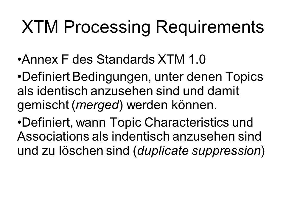 XTM Processing Requirements Annex F des Standards XTM 1.0 Definiert Bedingungen, unter denen Topics als identisch anzusehen sind und damit gemischt (merged) werden können.