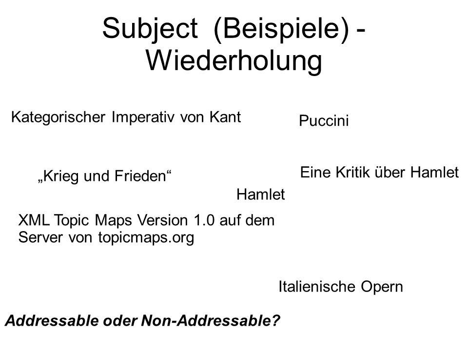 """Subject (Beispiele) - Wiederholung Kategorischer Imperativ von Kant """"Krieg und Frieden XML Topic Maps Version 1.0 auf dem Server von topicmaps.org Puccini Hamlet Italienische Opern Eine Kritik über Hamlet Addressable oder Non-Addressable?"""
