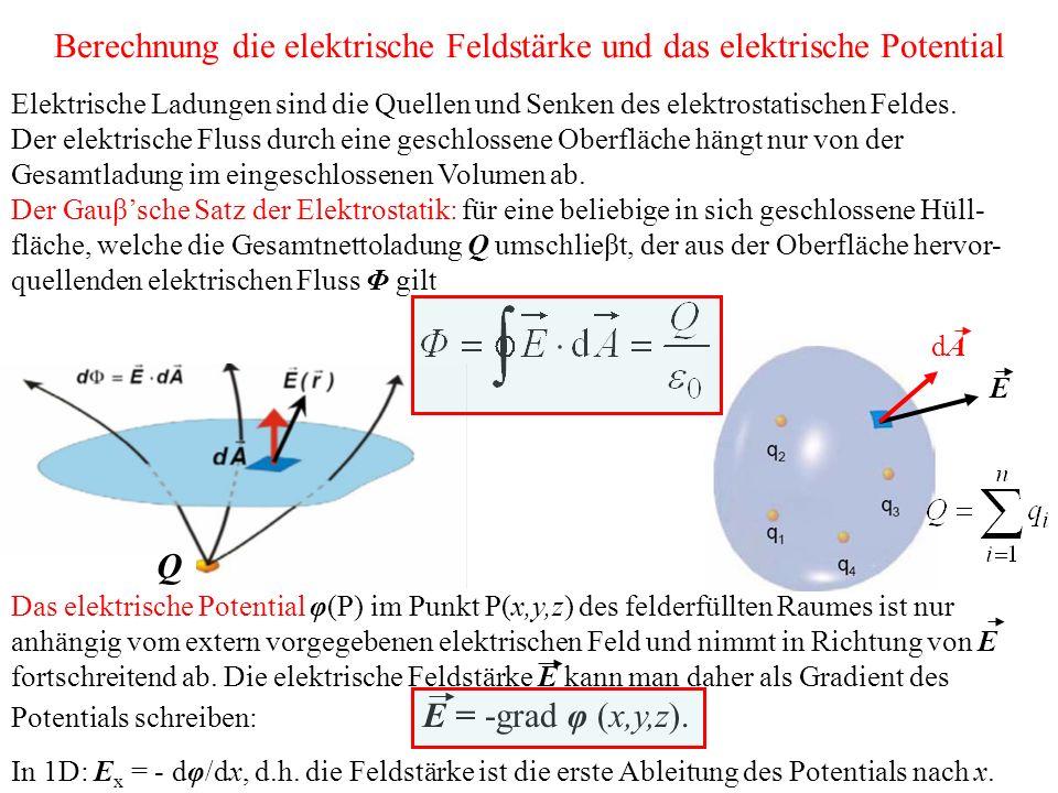 Berechnung die elektrische Feldstärke und das elektrische Potential Elektrische Ladungen sind die Quellen und Senken des elektrostatischen Feldes.