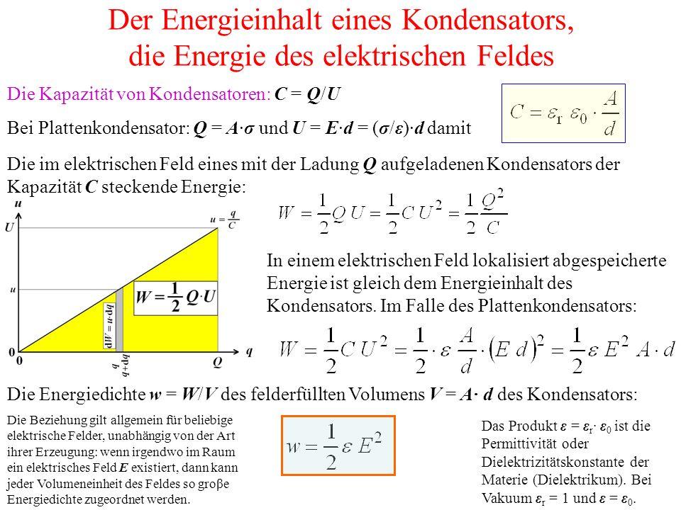 Der Energieinhalt eines Kondensators, die Energie des elektrischen Feldes Die Kapazität von Kondensatoren: C = Q/U Bei Plattenkondensator: Q = A·σ und U = E·d = (σ/ε)·d damit Die im elektrischen Feld eines mit der Ladung Q aufgeladenen Kondensators der Kapazität C steckende Energie: In einem elektrischen Feld lokalisiert abgespeicherte Energie ist gleich dem Energieinhalt des Kondensators.