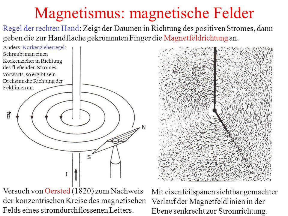 Magnetismus: magnetische Felder Versuch von Oersted (1820) zum Nachweis der konzentrischen Kreise des magnetischen Felds eines stromdurchflossenen Leiters.