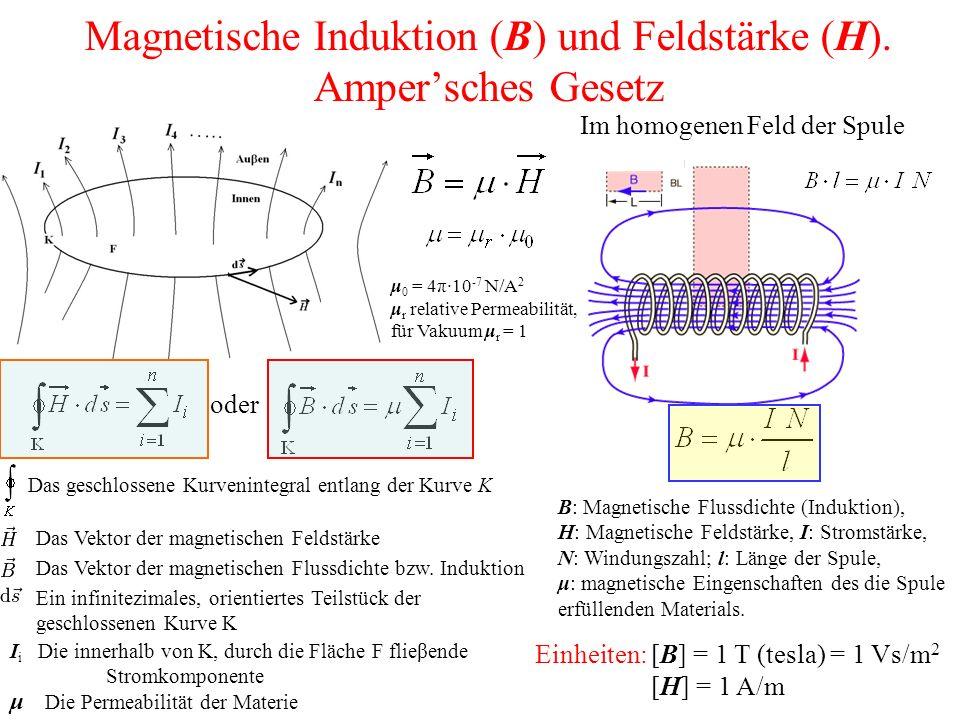 Magnetische Induktion (B) und Feldstärke (H).