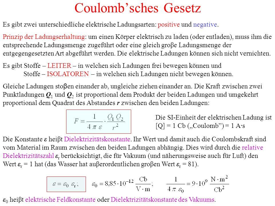 Coulomb'sches Gesetz Es gibt zwei unterschiedliche elektrische Ladungsarten: positive und negative.
