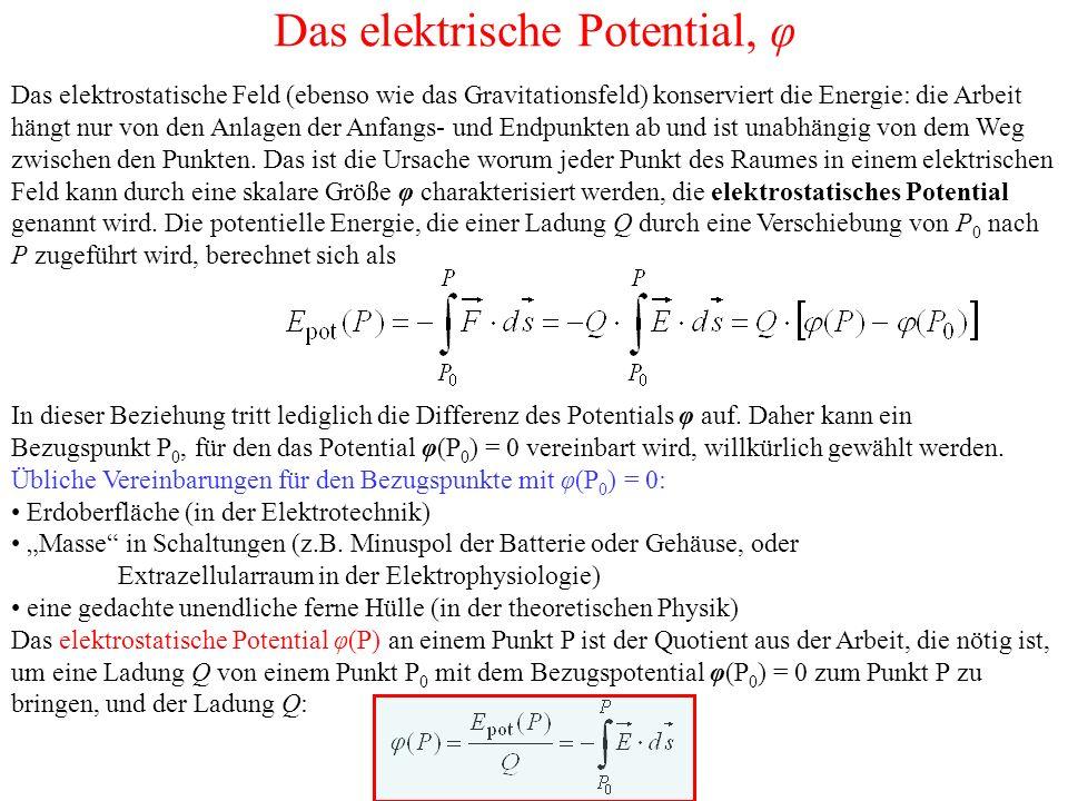 Die elektrische Spannung, U Die vom Feld E an der Probeladung Q bei einer Verschiebung von P 1 nach P 2 verrichtete Arbeit W 21 ist gleich der Abnahme der potentiellen Energie –ΔE pot der Ladung im elektrischen Feld und diese wiederum gleich dem Produkt aus Ladung Q und Potentialdifferenz Δφ: Die Potentialdifferenz Δφ = φ(2) – φ(1) nennt man die Spannung U 21 zwischen den Punkten 1 und 2: Die auf die Ladungsgröβe Q bezogene Arbeit W 21 heiβt elektrische Spannung.