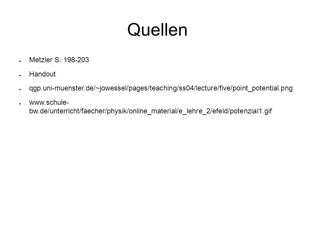 Quellen ● Metzler S. 198-203 ● Handout ● qgp.uni-muenster.de/~jowessel/pages/teaching/ss04/lecture/five/point_potential.png ● www.schule- bw.de/unterr